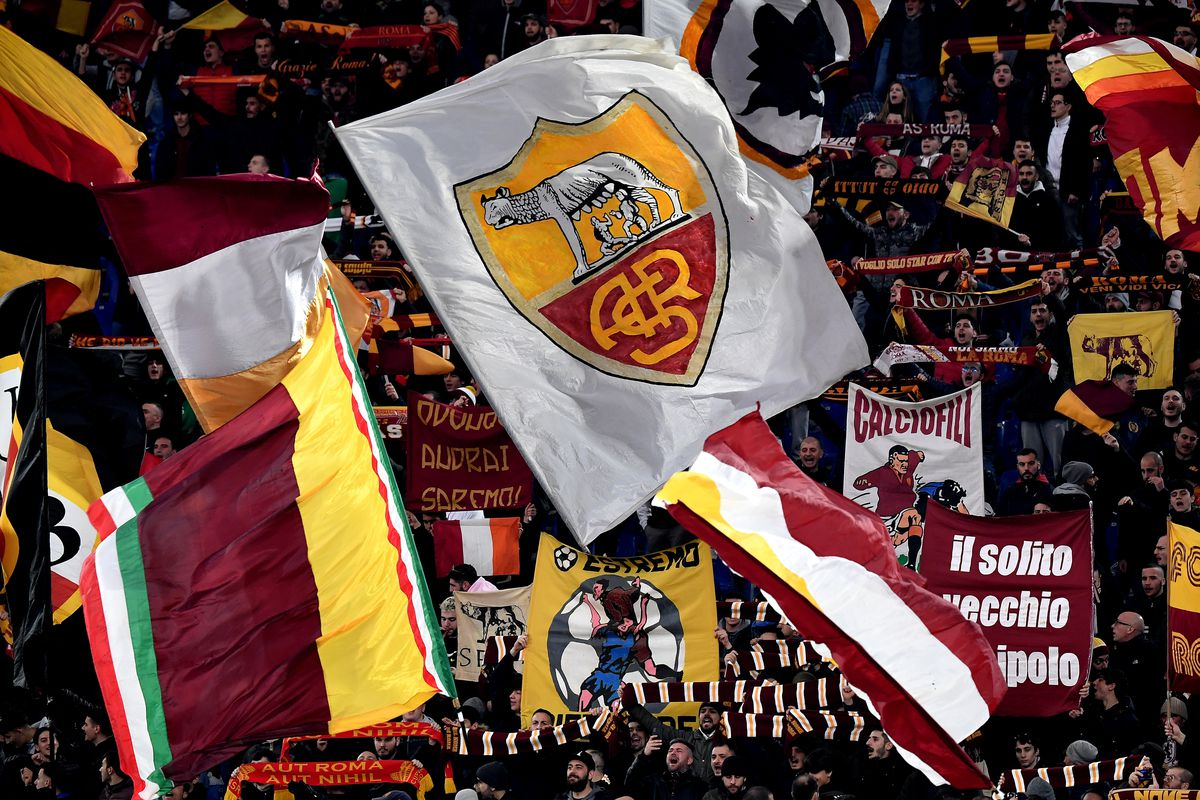 AS Roma fans cheer on before the Serie A match between AS...