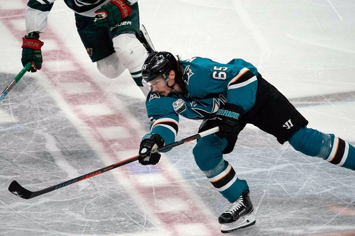 Nov 6, 2018; San Jose, CA, USA; San Jose Sharks defenseman Erik Karlsson (65) passes the puck against the Minnesota Wild during the second period at SAP Center at San Jose.