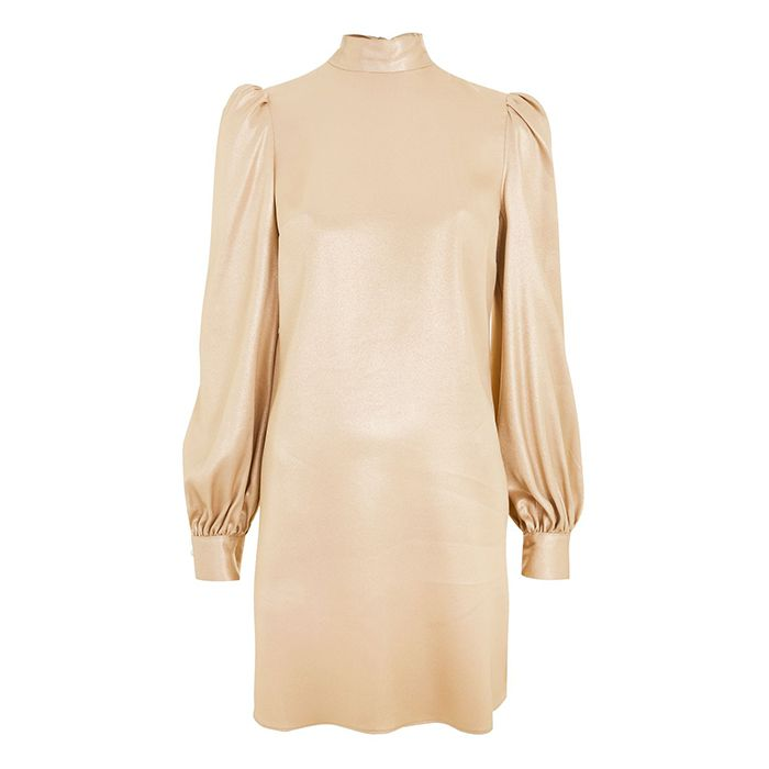 Topshop Foil High Neck Mini Dress
