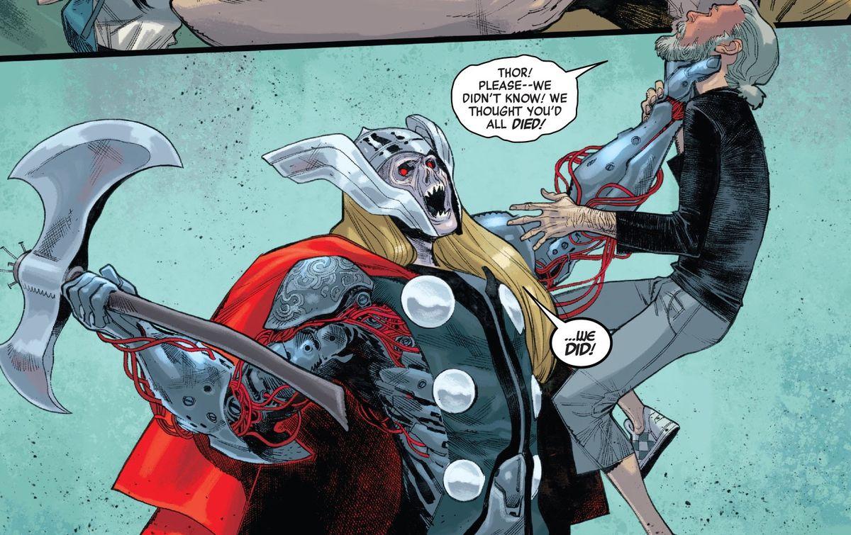 zombie thor attacks tony stark in Spider-Man #4, Marvel Comics (2020).