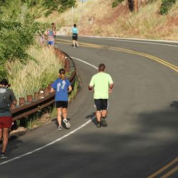 Runners compete in the Deseret News Marathon and Half Marathon in Emigration Canyon on Friday, July 23, 2021.