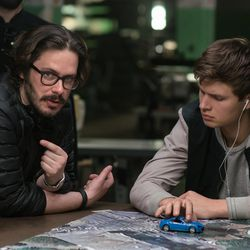 """Director Edgar Wright, left, and Ansel Elgort on the set of """"Baby Driver."""""""