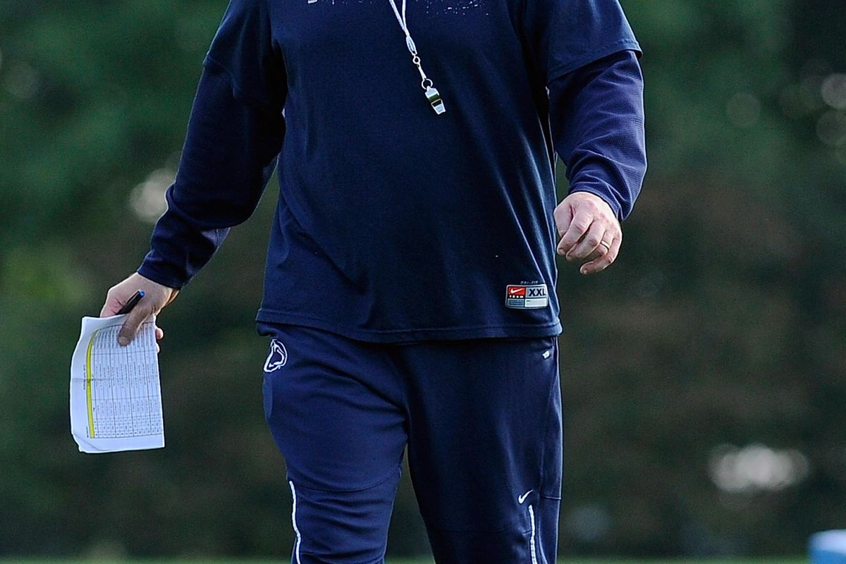 Aug 6, 2012; University Park, PA, USA; Penn State Nittany Lions head coach Bill O'Brien looks on during practice at the Lasch Football Building practice fields. Mandatory Credit: Rich Barnes-US PRESSWIRE