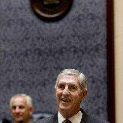 Recently retired Jazz coach Jerry Sloan is honored in the Senate at the Utah State Capitol on March 7, 2011.
