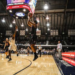Utah's Sedrick Barefield shoots a jumper against Butler at Hinkle Fieldhouse in Indianapolis on Tuesday, Dec. 5, 2017. The Utes fell to the Bulldogs, 81-69.
