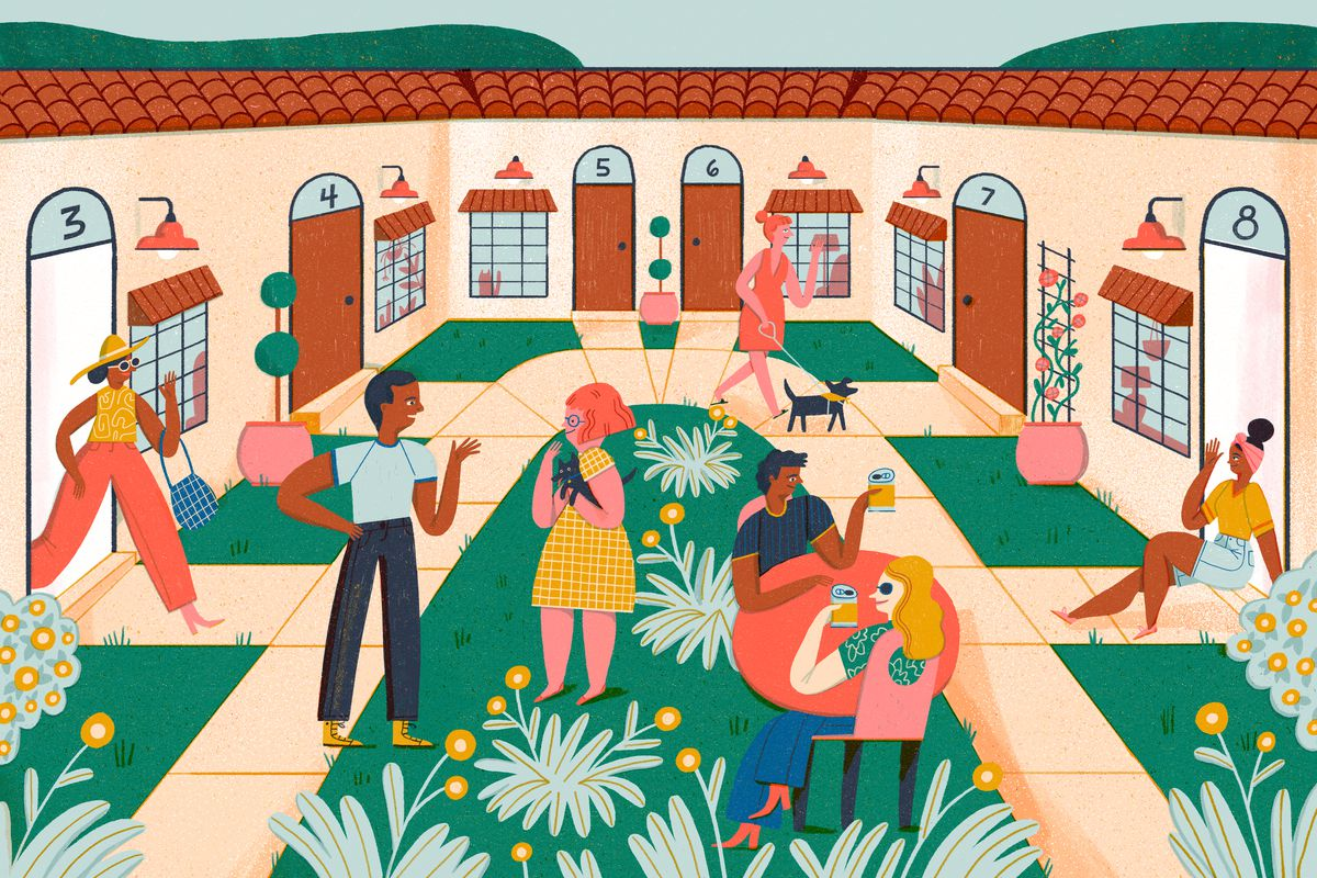 A bustling courtyard scene with various apartment doors and sidewalks all leading to a center loop of sidewalk. Neighbors are outside chatting and catching up over drinks at a small outdoor table, people are coming and going from their front doors with pets or bags from errands. The atmosphere is friendly and lively. Illustration.