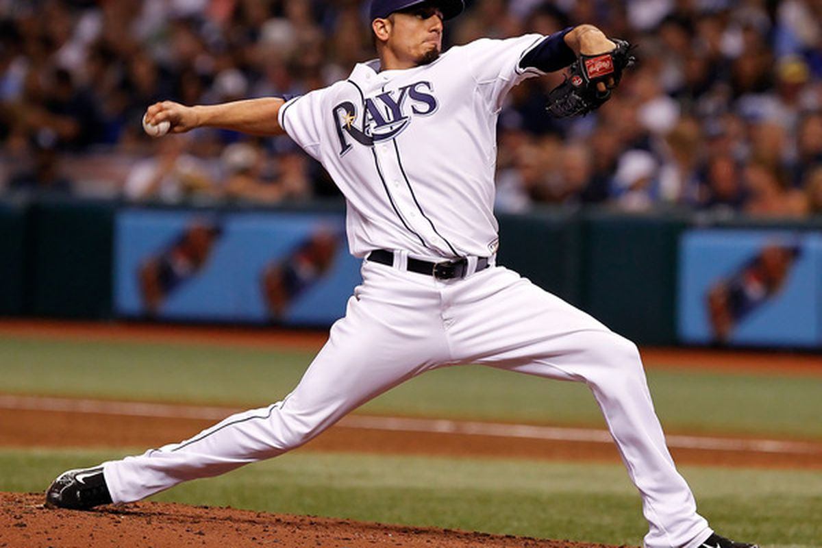 ST. PETERSBURG - SEPTEMBER 14:  Pitcher Matt Garza #22 of the Tampa Bay Rays pitches against the New York Yankees during the game at Tropicana Field on September 14 2010 in St. Petersburg Florida.  (Photo by J. Meric/Getty Images)