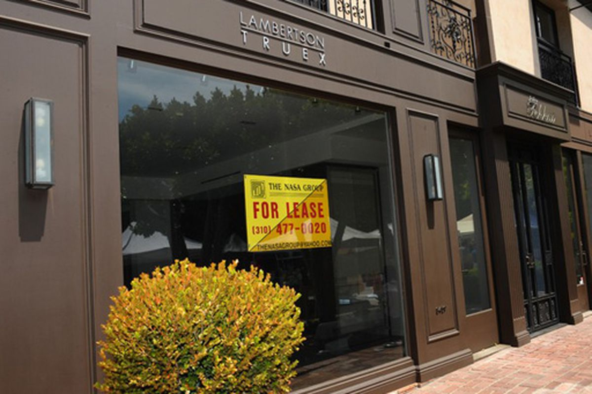 """The Lambertson Truex store on Melrose Place, now for lease.  Photo via <a href=""""http://www.wwd.com/retail-news/down-and-out-store-closings-spread-in-la-2110551?browsets=1240404588691#/article/retail-news/down-and-out-store-closings-spread-in-la-2110"""