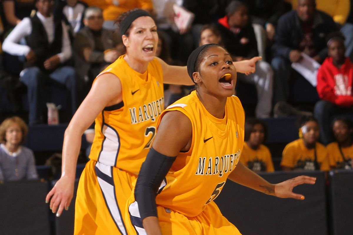 Marquette's senior duo of Katherine Plouffe (left) and Katie Young have been driving Marquette this season.
