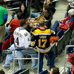 Caps and Bruins Fans in Stands