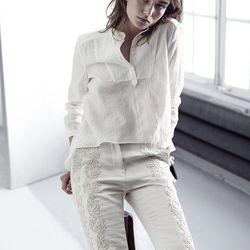 Organic cotton voile blouse, $34.95; bonded trousers, $129