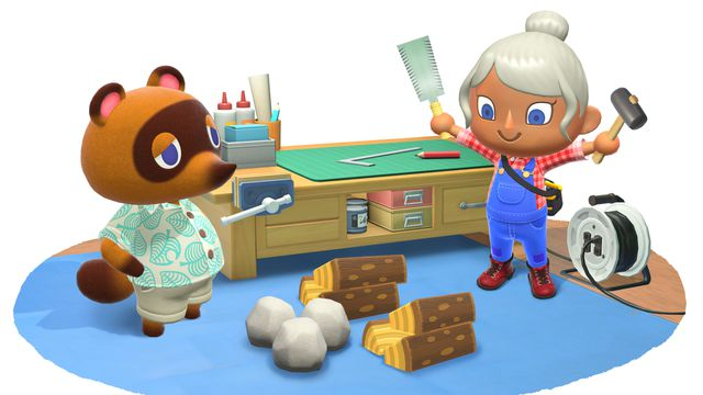 An Animal Crossing player next to Tom Nook.