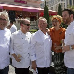 Chefs mingling at the saber off including Bradley Ogden, Wolfgang Puck, Mary Sue Milliken and Scott Conant. Photo by Chelsea McManus