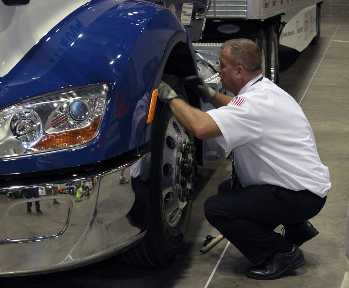 A contestant competes in the inspection portion of the championships