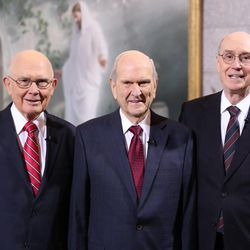 President Russell M. Nelson, 17th president of the Church, flanked by his counselors, President Dallin H. Oaks, first counselor, left, and President Henry B. Eyring, second counselor.