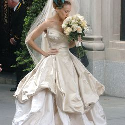 One of many amazing wedding gowns Sarah Jessica Parker modeled as Carrie Bradshaw in the first Sex and the City movie (in 2008), this Vivienne Westwood creation instantly became one of the most famous bridal looks of all time.