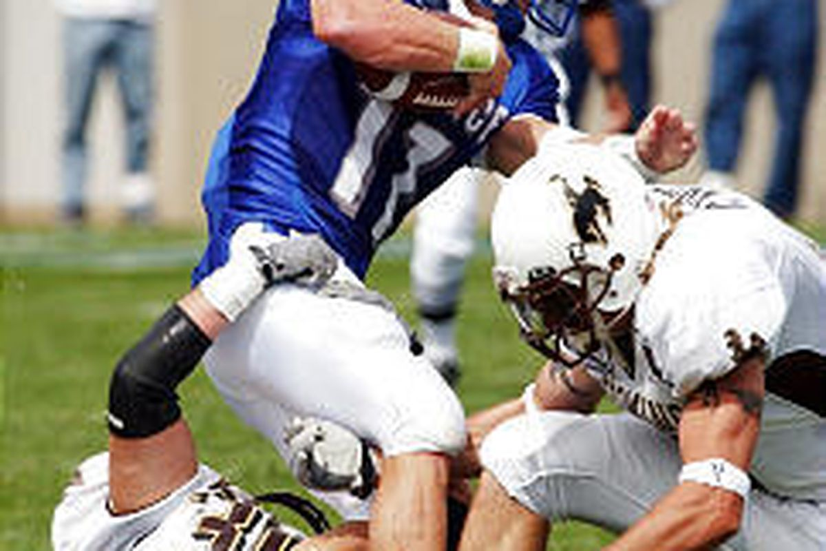 Air Force QB Chance Harridge, being tackled by Wyoming defenders in last week's game, says his play will speak for him.