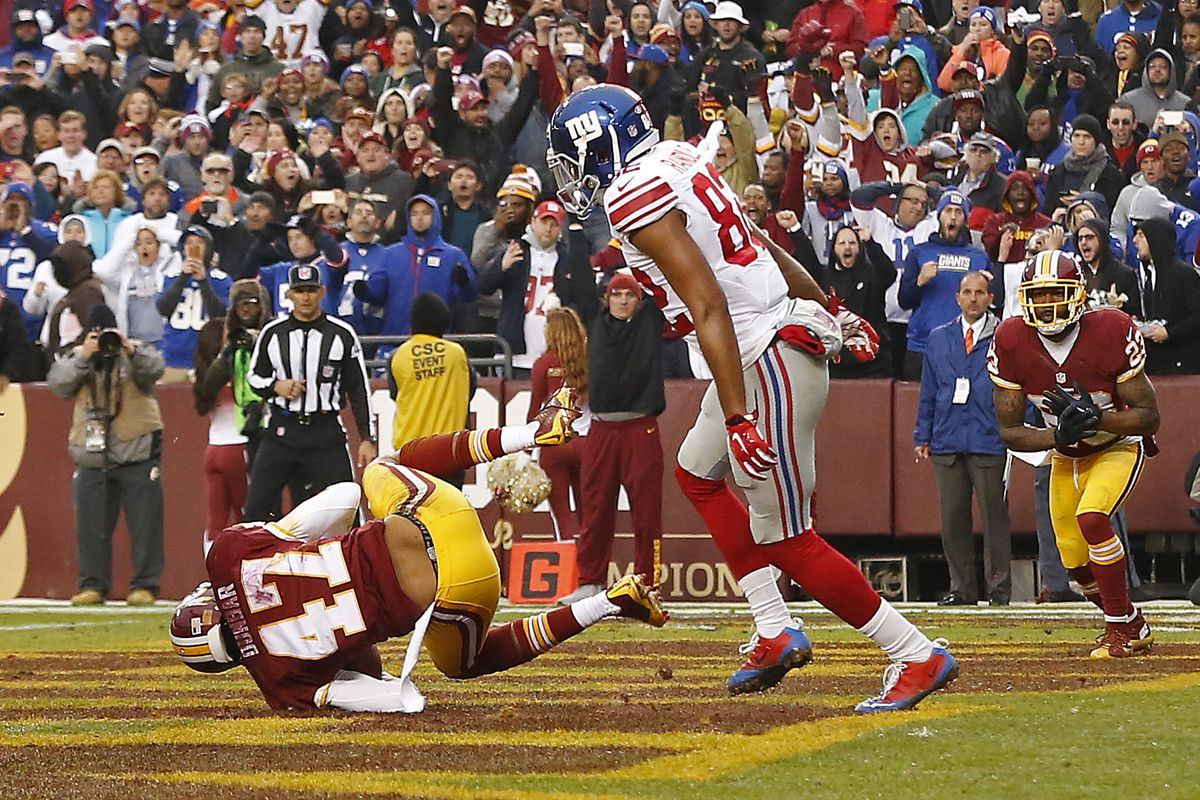 Quinton Dunbar intercepted this pass intended for Rueben Randle on Sunday