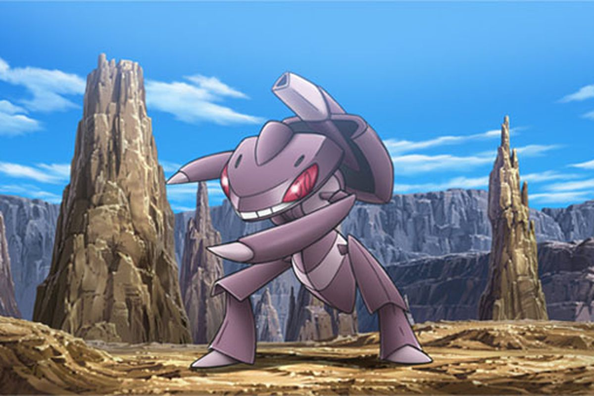Genesect stands in a rocky terrain area
