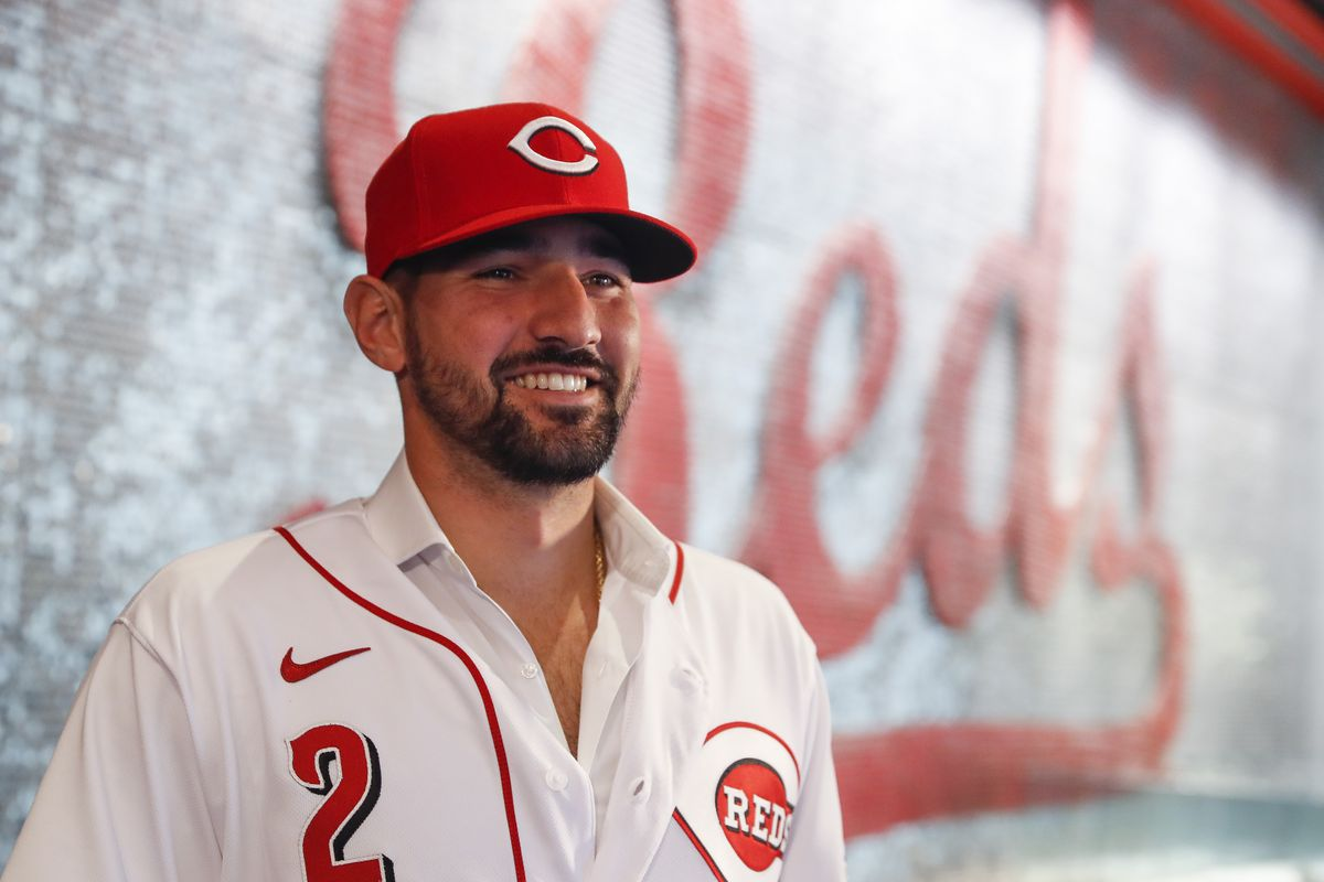 The Reds' Nick Castellanos is introduced Tuesday in Cincinnati.