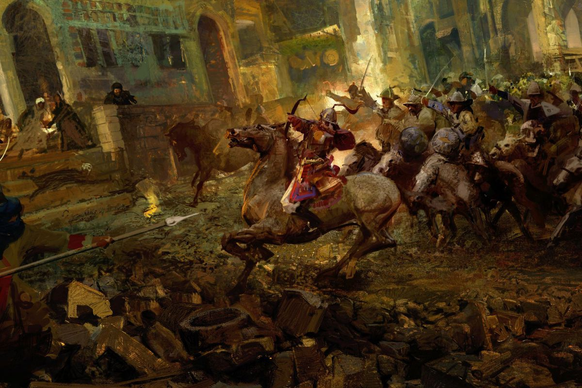 A mounted archer attacks a fortification in Crusader Kings 3 key art.