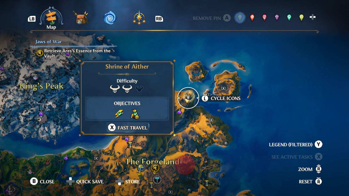 The map location of the Shrine of Aither Vault of Tartaros in Immortals Fenyx Rising