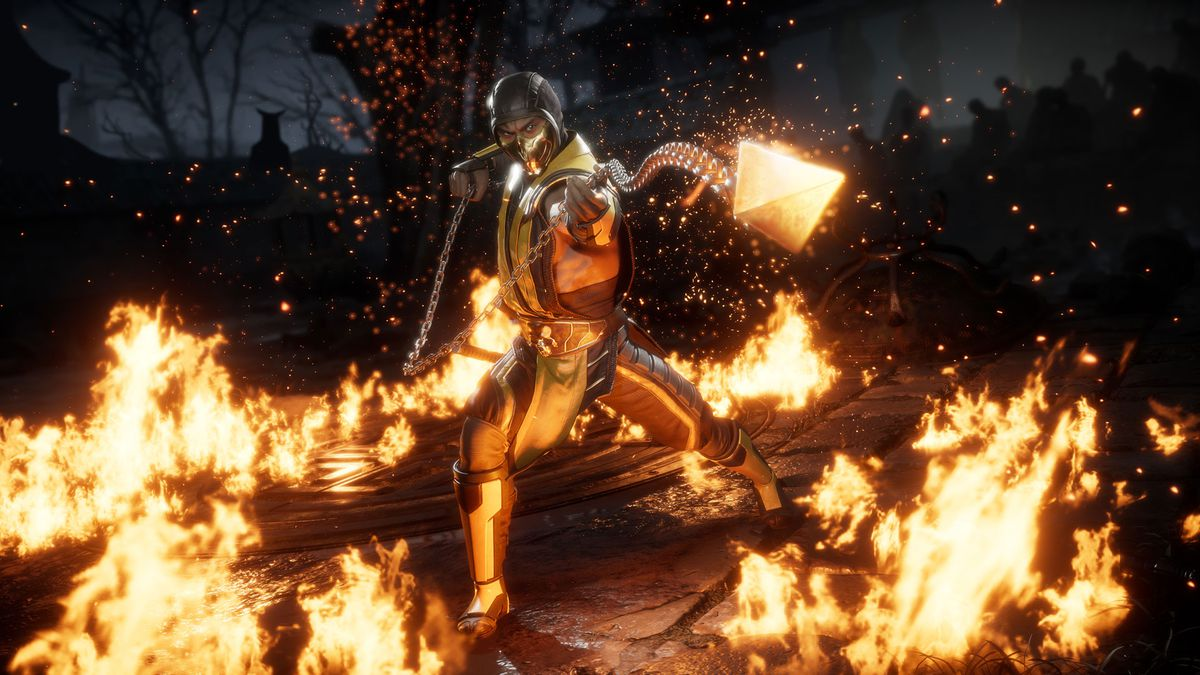 Scorpion throws his spear in a screenshot from Mortal Kombat 11.