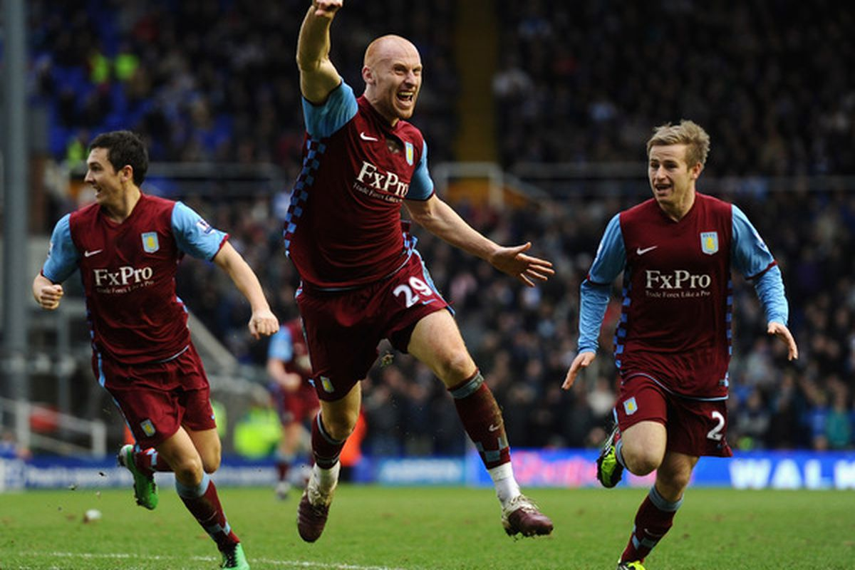 Superhero James Collins, or the work of Agent Ridgewell? Either way, Aston Villa are thrilled.  (Photo by Laurence Griffiths/Getty Images)