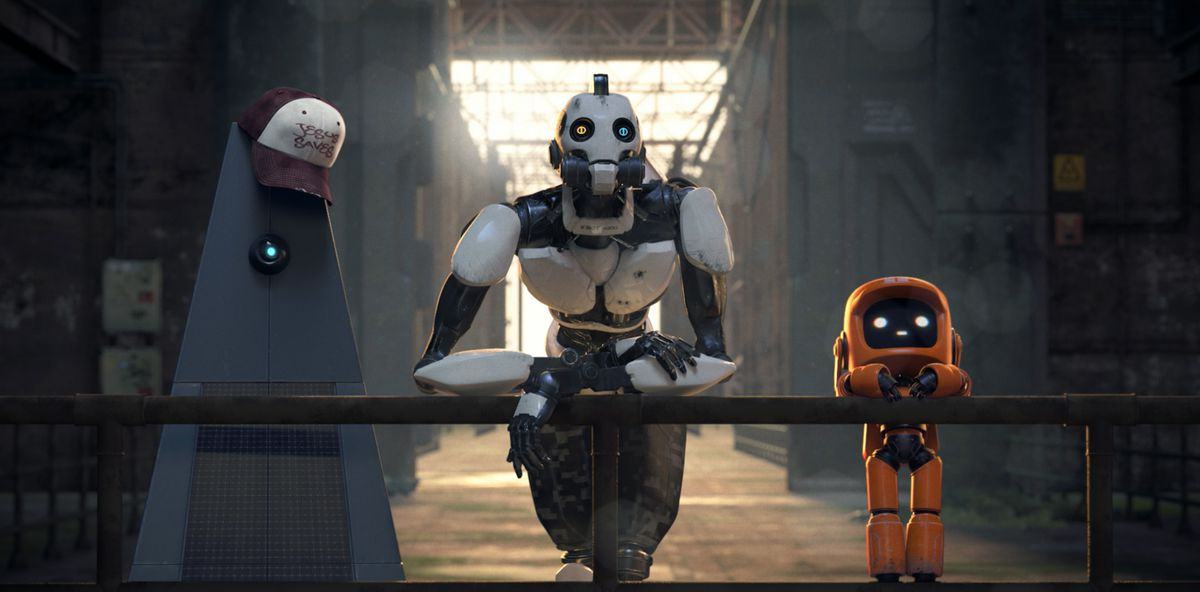 "Three robots lean speculatively against a railing in the Love, Death + Robots episode ""Three Robots"""