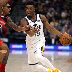 Utah Jazz guard Donovan Mitchell dribbles against the Washington Wizards at the Vivint Arena in Salt Lake City on Monday, Dec. 4, 2017. The Jazz won 116-69.