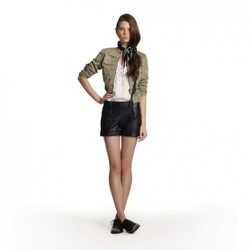 Embellished Tank in Cream Twill Jacket in Khaki, $44.99 Faux-Leather Shorts in Black, $39.99