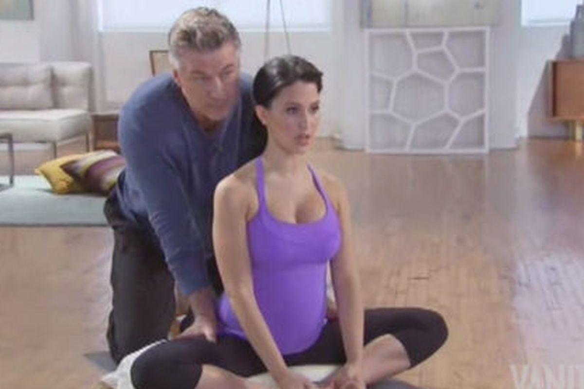A still from Hilaria Baldwin's new yoga video.
