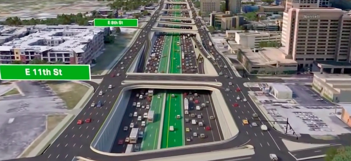 A rendering of a massive multi-level highway with a bright green set of lanes in the center.