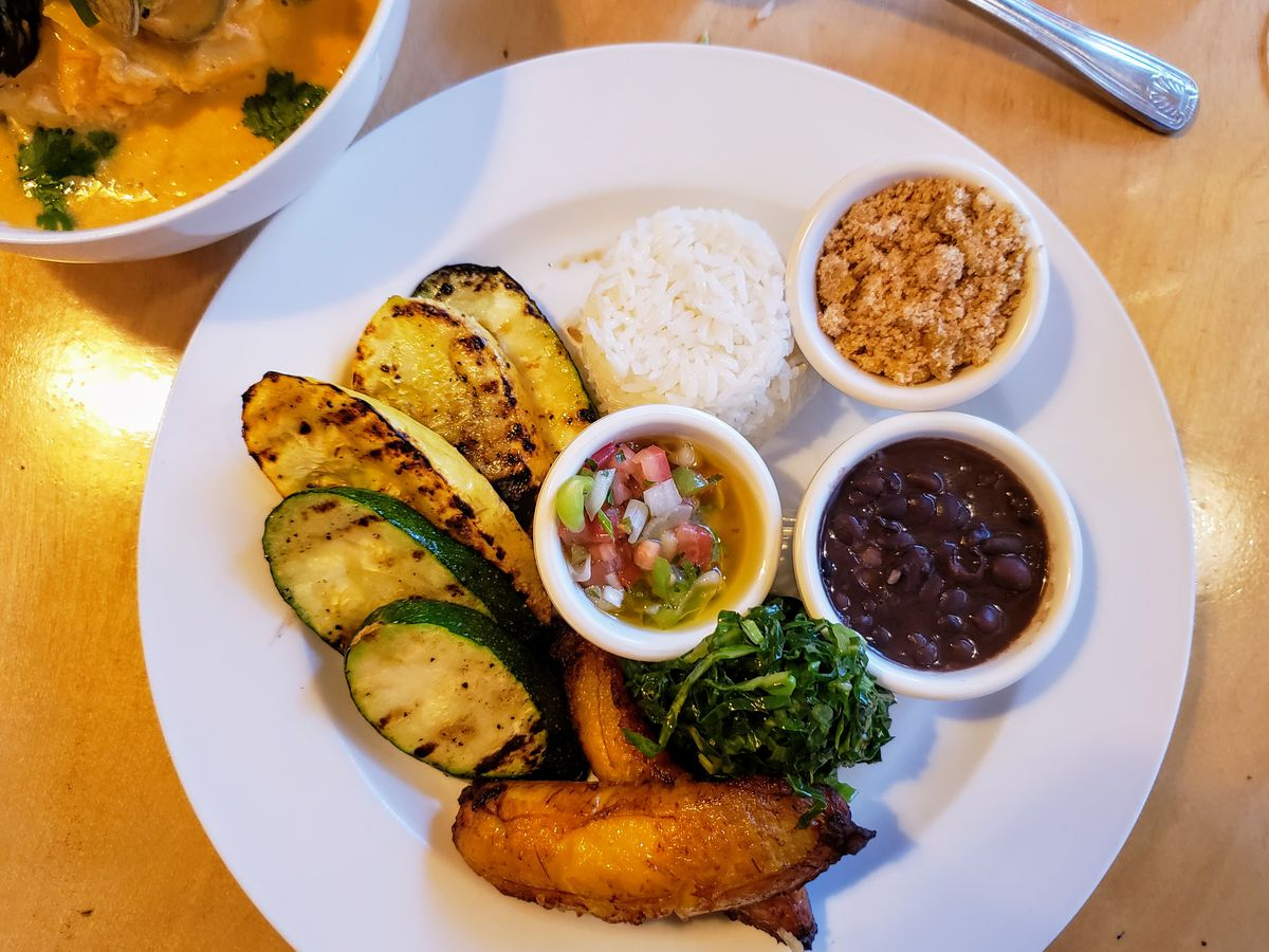 Grilled squash, plantain, black beans, farofa, and rice from Woodspoon in Downtown Los Angeles