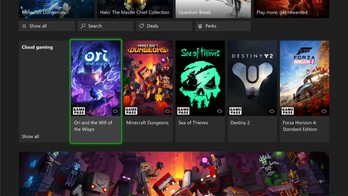 screen showing five titles available for cloud gaming on Xbox consoles