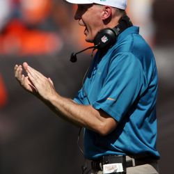 Sep 8, 2013; Cleveland, OH, USA; Miami Dolphins head coach Joe Philbin encourages his team against the Cleveland Browns during the third quarter at FirstEnergy Field. The Dolphins won 23-10.