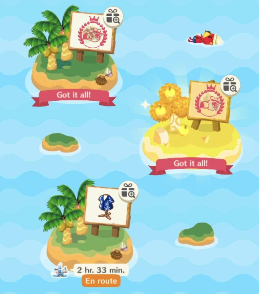 Gulliver's Ship screen, which shows a golden island and a treat island, both completed. The ship is enroute to a clothing island.