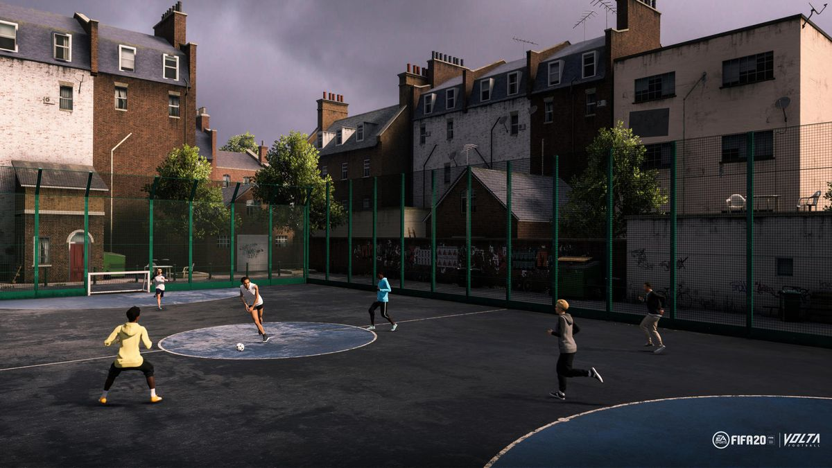 The 'Favela' street soccer court in FIFA 20's Volta football — a gritty neighborhood park with eight players.