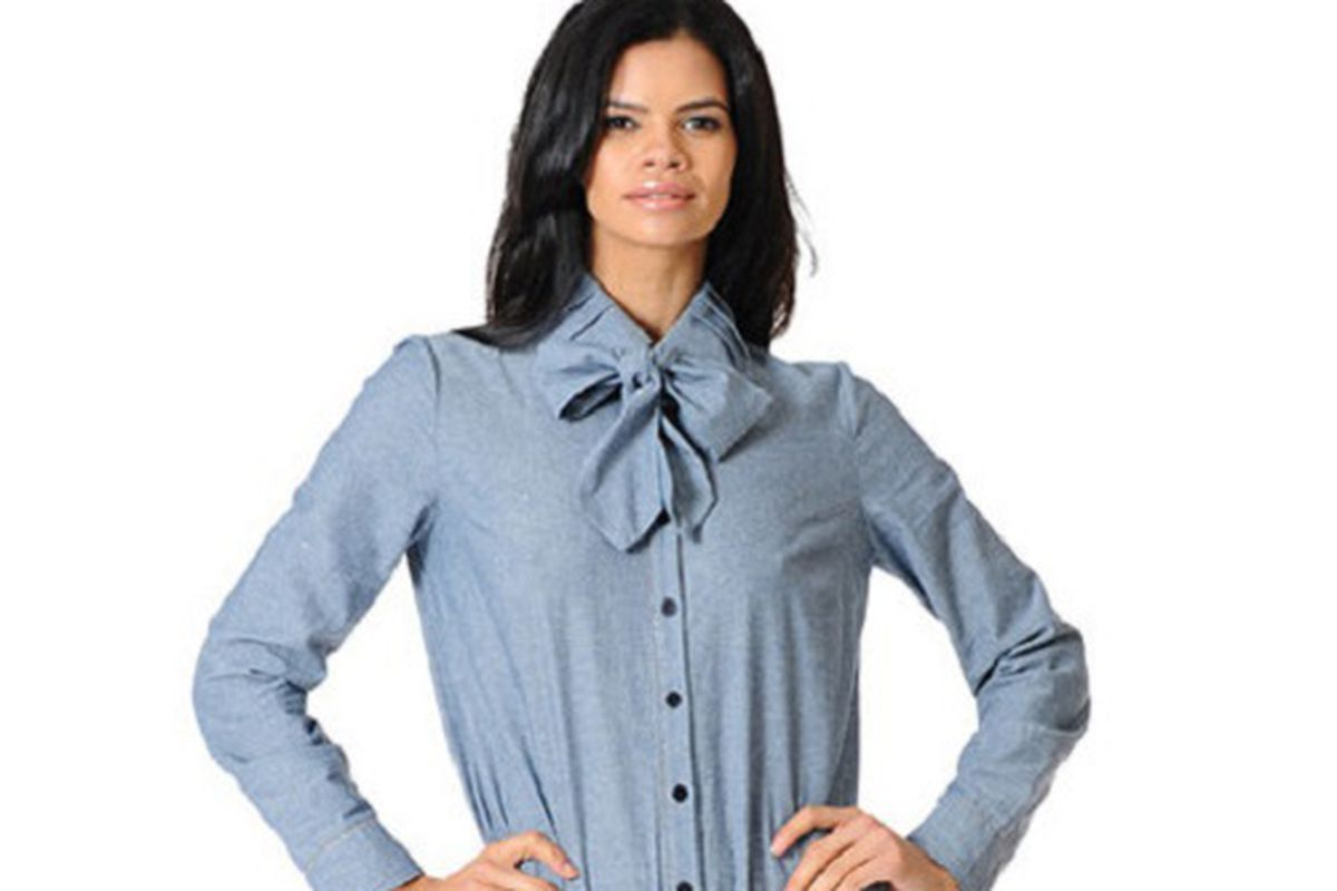 """<a href=""""http://www.bradamant.com/collections/timeless/products/pussey-bow-chambray-blouse"""">The Pirette bodyshirt</a>, $88. All images credit: <a href=""""http://www.bradamant.com/"""">Bradamant</a>"""