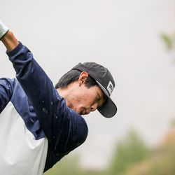 Skyline's Peter Kim hits a tee shot at the 5A boys state golf tournament at The Oaks at Spanish Fork in Spanish Fork on Tuesday, Oct. 5, 2021.