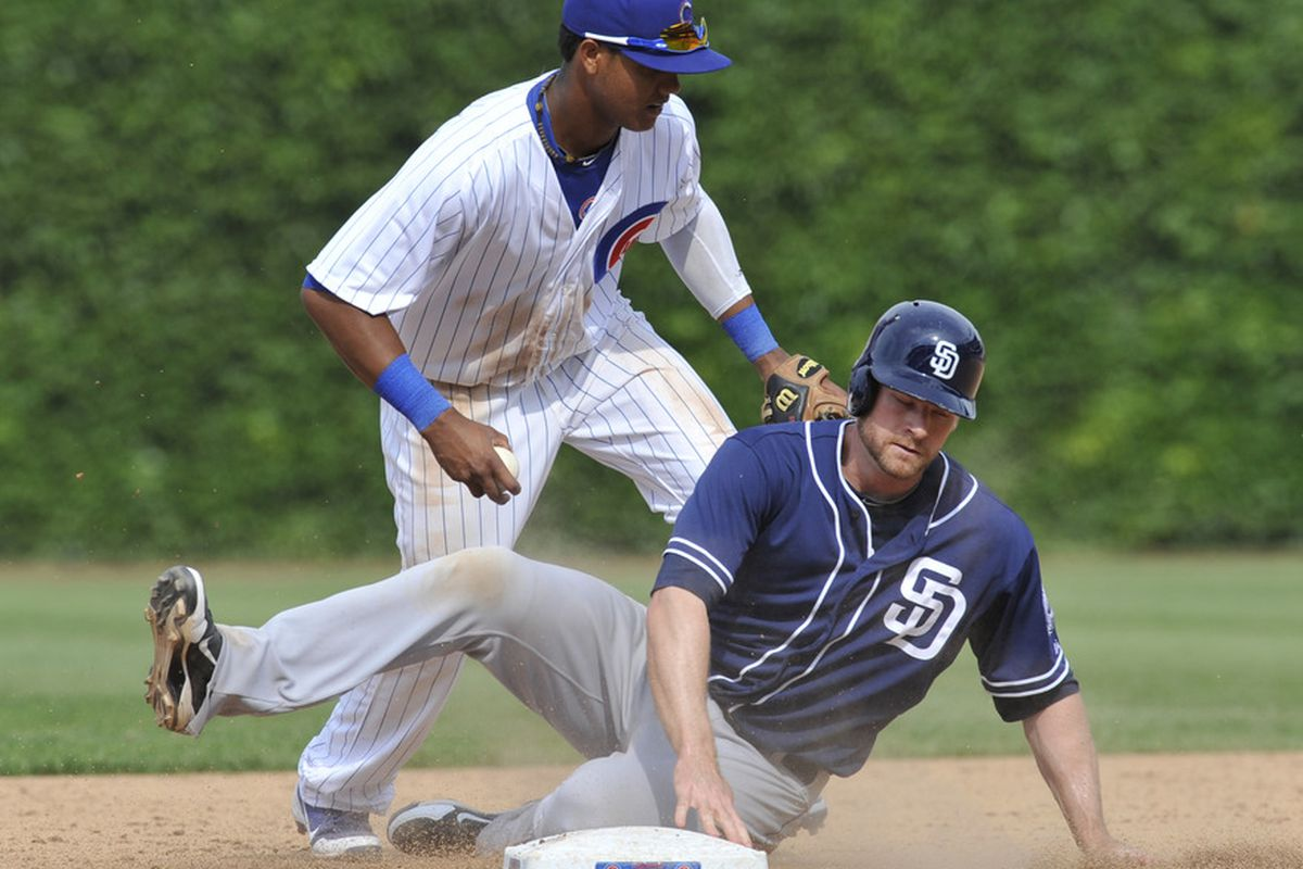 Starlin Castro of the Chicago Cubs forces out Chase Headley of the San Diego Padres at second base at Wrigley Field in Chicago, Illinois. The Chicago Cubs defeated the San Diego Padres 11-7.  (Photo by David Banks/Getty Images)