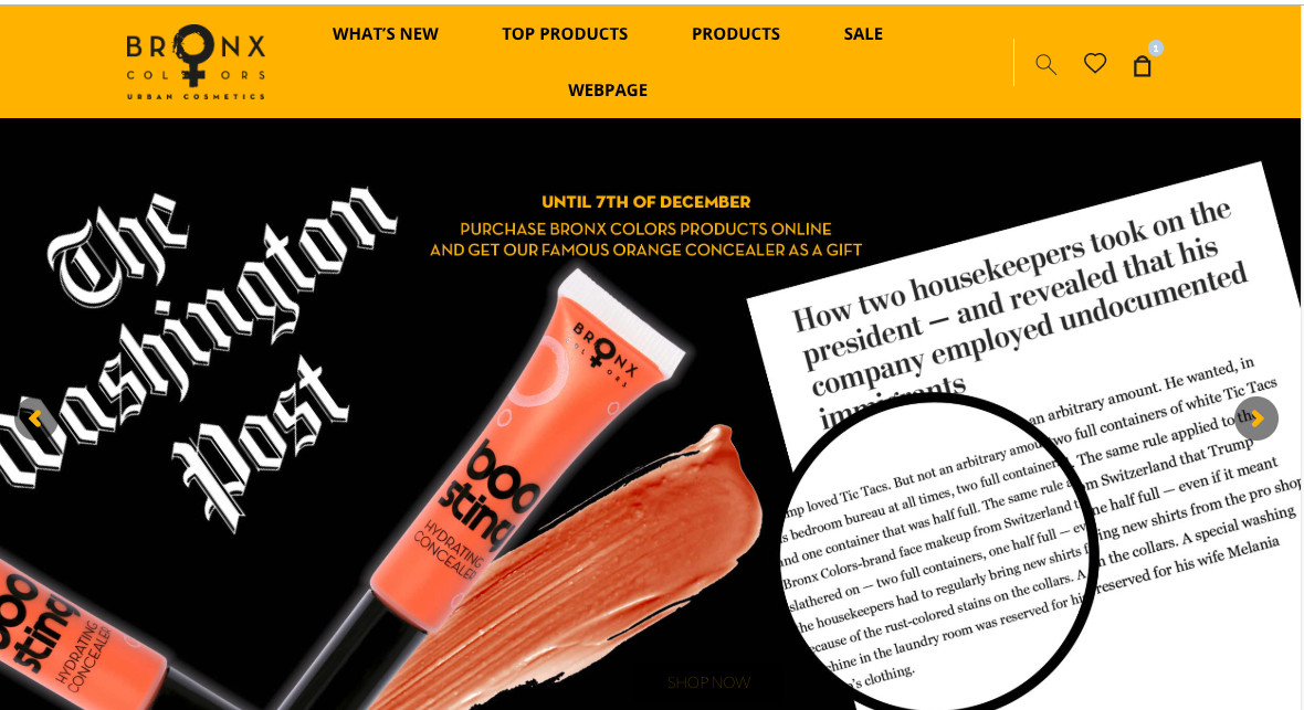 A makeup e-commence website with a screenshot of a news article about the makeup being used by president Trump and tubes of the orange makeup.
