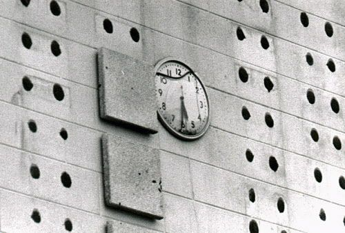 Frozen in time, this clock at the Oak Lawn Community High School stopped the instant the tornado struck.