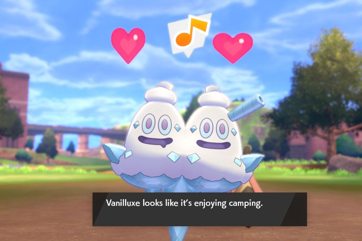 A VanilluxePokémon smiles with two hearts above its head