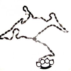 Father Panik Industries vintage rosary with brass knuckles, $86-$200