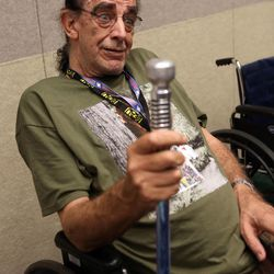 Peter Mayhew, who played Chewbacca in Star Wars movies, talks to media at a press conference at Utah's first Comic Con at the Salt Palace Convention Center in Salt Lake City on Thursday, Sept. 5, 2013.