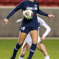 Ridgeline takes on Pine View during a 4A high school girls soccer semifinal at Rio Tinto Stadium in Sandy on Thursday, Oct. 22, 2020.