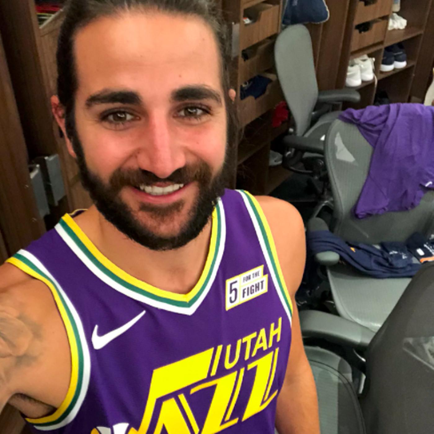 brand new 89b57 ac7b3 Ricky Rubio unveils purple Utah Jazz throwbacks for 2018 ...