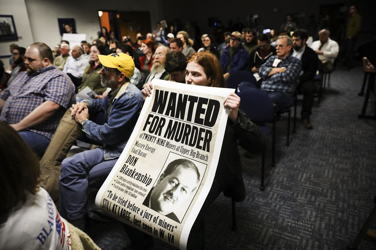 Protesters demonstrate against Republican candidate for U.S. Senate Don Blankenship during a town hall meeting at West Virginia University on March 1, 2018 in Morgantown, West Virginia.