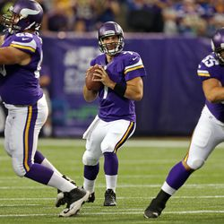 Aug 9, 2013; Minneapolis, MN, USA; Minnesota Vikings quarterback Christian Ponder (7) drops back and looks to the pass the ball in the first quarter against the Houston Texans at the Metrodome.